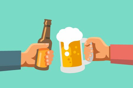 Two hands holding beer glass and beer botle. Vector flat Illustration