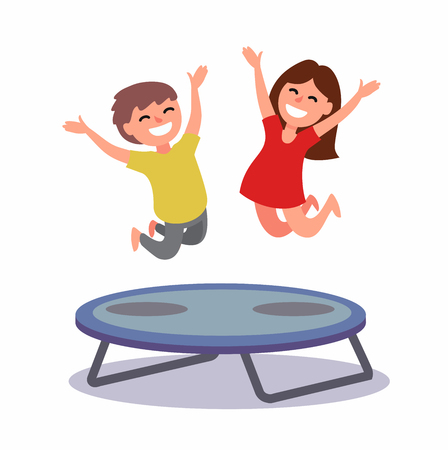 Happy boy and girl jumping on the trampoline. Vector illustration Vectores