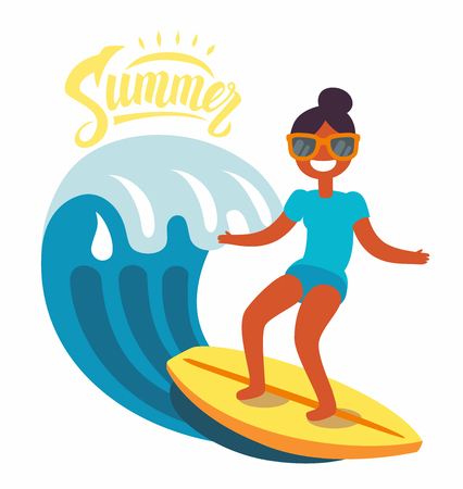 Surfer girl rides the waves. Vector flat Vectores
