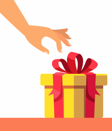Female hand opening gift. Vector flat illustration