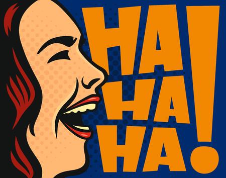 Donna felice ridendo Stile di illustrazione vettoriale fumetti Archivio Fotografico - 91688116
