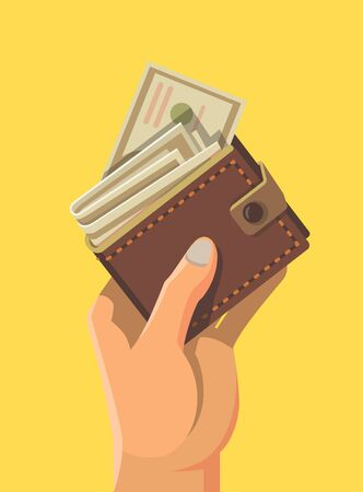 Hand and wallet full of money. Illustration