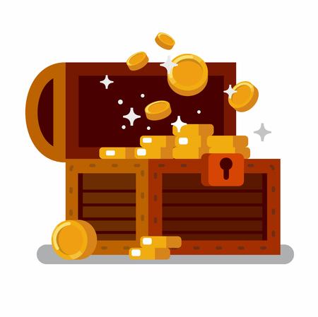 Wooden treasure chest full of golden coins.