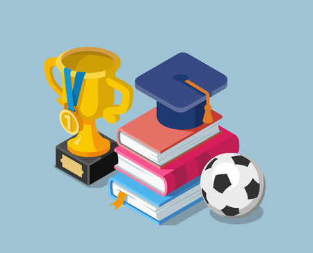 Flat education concept with books cup winner and soccer ball. Illustration