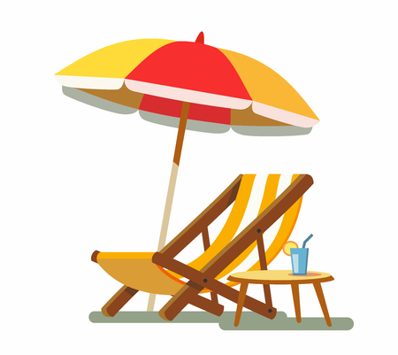 Deckchair and umbrella on the beach. Stock Photo