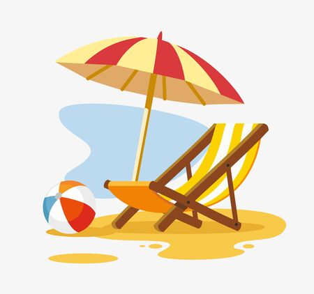 Umbrella and sun lounger on the beach.