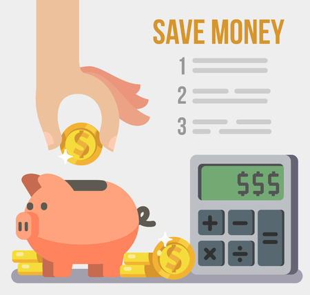 Inserting a coin into piggy bank. Save concept poster. Vector flat style
