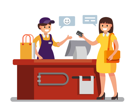 Woman Shopping in supermarket. Vector flat illustration Stok Fotoğraf - 93017626