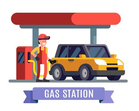 Pracownik stacji benzynowej tankowanie paliwa do samochodu. Płaska konstrukcja wektor