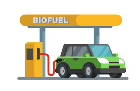 Benzinevulstation voor aardolie. Vector plat ontwerp