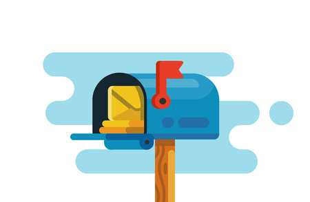 Open mail box with mails vector flat Illustration