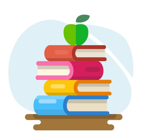 Literature and library, knowledge and study vector flat