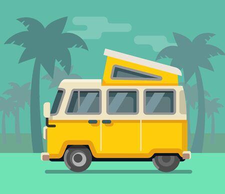Vintage van. Summer vacation time tropics Vector flat