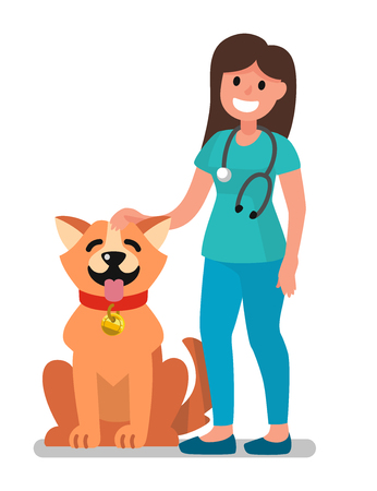 Veterinarian doctor examining dog. Happy veterinarian doctor and animal. Vector Illustration