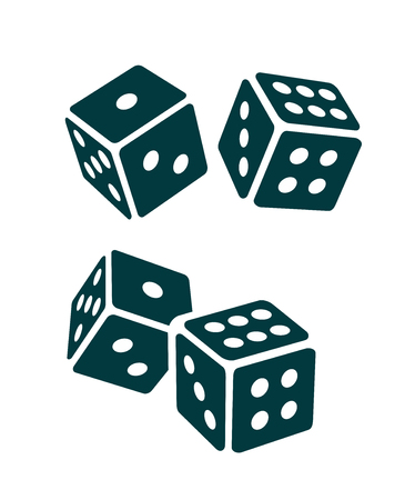 Two Black Dice Cubes on white background.