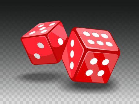 Red dices on transparent backgrund.