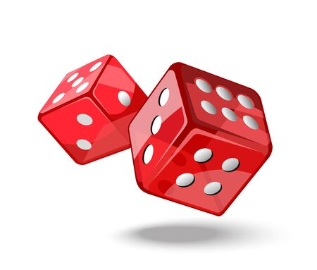 Red game dice in flight.