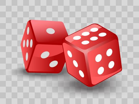 Red dices on transparent backgrund. Vector illustration