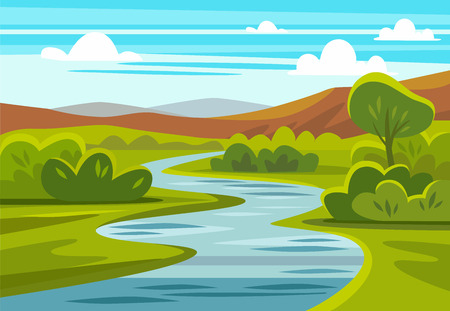 Cartoon landscape with mountains, river and trees.