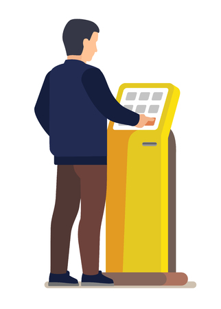 Man using electronic self service payment system.