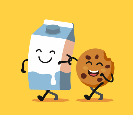 Cartoons of fun characters milk and cookies. Vector flat