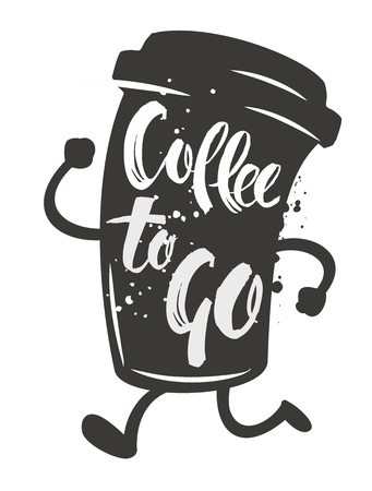Coffee to go written in cartoon coffee cup. Vector illustration.