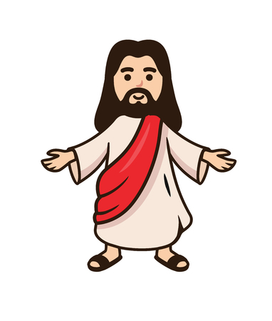 Jesus christ smiling with open arms. Vector