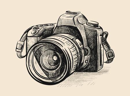 Modern camera in doodle style. Vector hand drawn