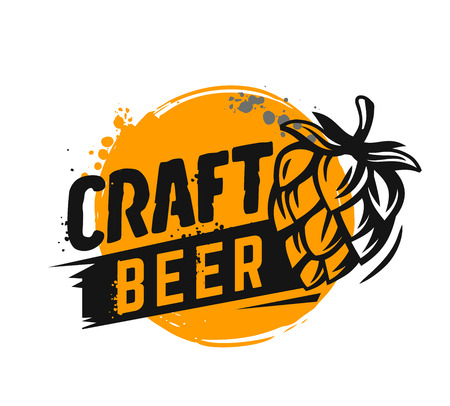 Craft beer poster. Vector illustration emblem on white