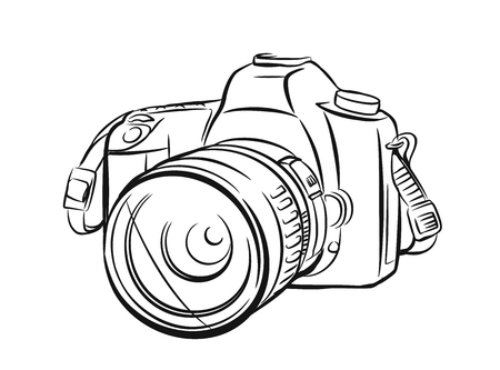 Modern camera in outline style. Vector hand drawn Vettoriali