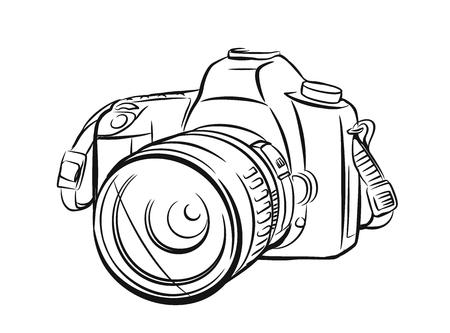 Nowoczesny aparat w stylu konspektu. Wyciągnąć rękę wektor Ilustracje wektorowe