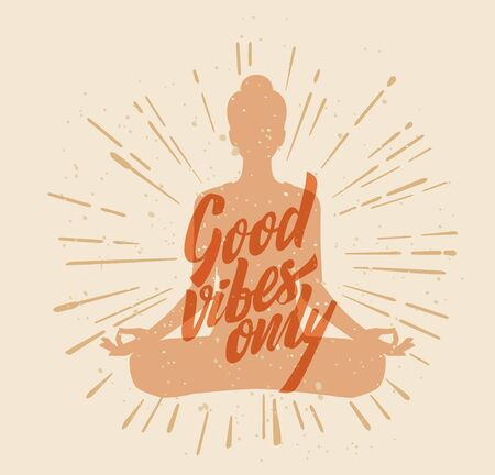 Lotus yoga pose woman with text. Vector illustration.