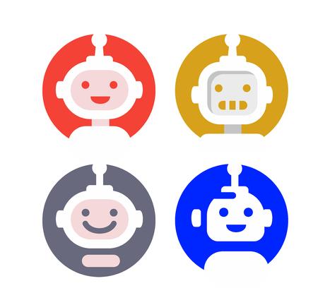 modern robot logo in round Çizim
