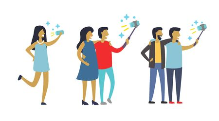 Man and woman do selfie. Friends do joint self-portrait. Vector flat  illustration.