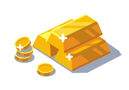 isometric golden bars and coins. Vector flat  illustration.