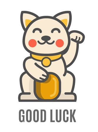 Lucky cat holding golden coin. Vector flat Illustration