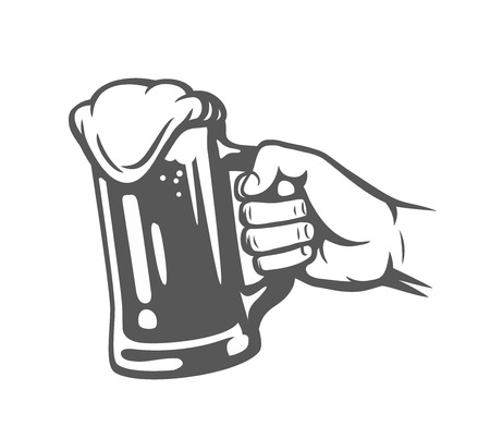 Male hand holding beer glass. Vector illustration.