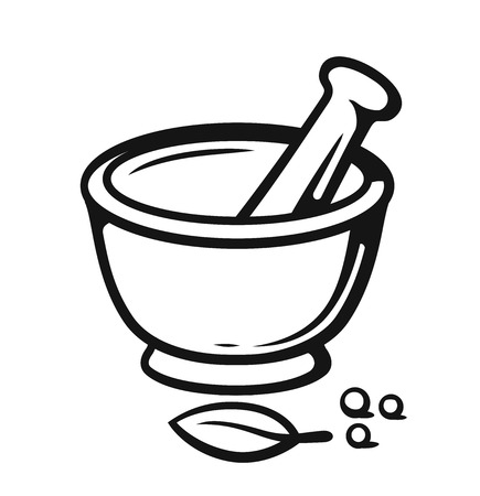 Mortar and Pestle with spices outline style. Çizim
