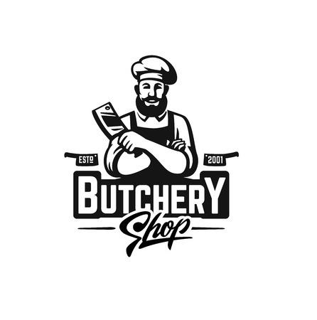 Butcher shop graphic design with man holding butcher 일러스트