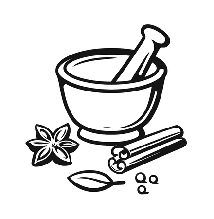 Mortar and Pestle with spices outline style. Vector illustration.