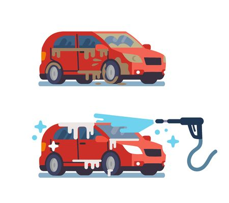 Clean and dirty car in car wash vector illustration.