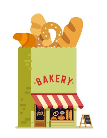 Bakery shop house. Bag building vector illustration. Illustration