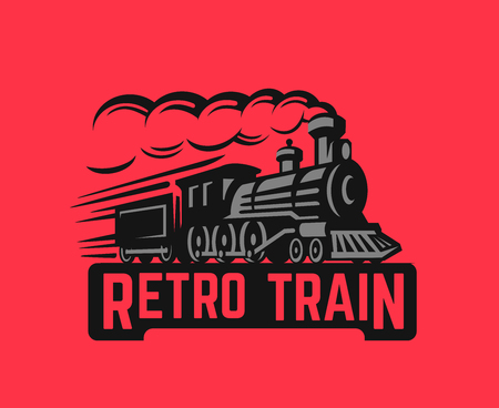 Locomotive Retro black train illustration on red background.