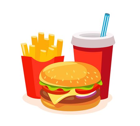 Lunch with french fries, soda and burger. Fast food. Vector