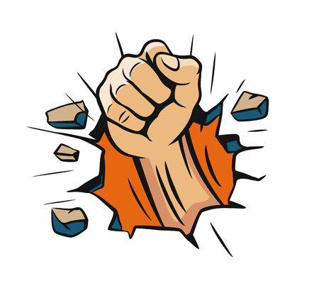 fist hand smashing the wall. Vector illustration