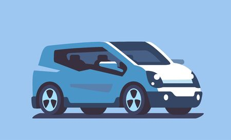 Modern SUV Car in flat style. Vector in blue