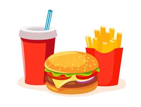 Lunch with french fries, soda and burger. Fast food Vector illustration.