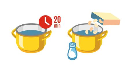 Cooking pot with water. Vector flat illustration Illustration