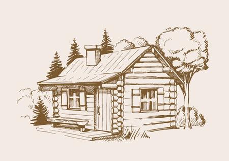Illustrazione vettoriale disegnato a mano della casa in legno Vettoriali