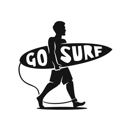 man surfer walking on beach with surfboard Illustration